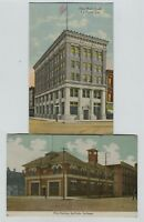 2 1910 -1920 era LaPorte Indiana Postcards  Fire Station & 1st National Bank