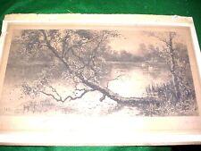 Antique ETCHING Listed Artist J.E. Grace 1885 DUAL SIGNATURE Artist Proof