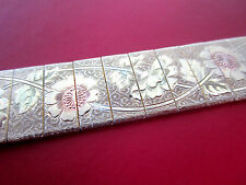 Vintage ENGRAVED FLOWER MESH BRACELET Floral Gold Chain Pink Paint Daisy Leaves
