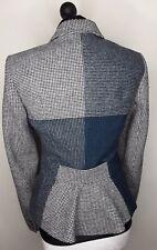 Hobbs 100% Wool Tweed Black & White Teal  Check Jacket Coat Blazer Size 12