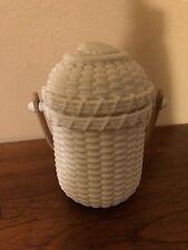 PartyLite Nantucket Basket Tealight Holder w/Lid & Wood Handle-Bisque-Like Glass