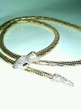 Brilliant Gold & Rhinestone Long Snake Necklace