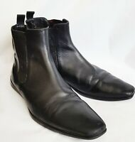 HUGO BOSS Men's Embossed  Logo 100% Black Leather Pull Up  Ankle Boot Sz US 9