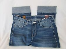 "Ladies ""Aura by Wrangler"" Size 10RA, Blue, Distressed, Cuffed, Denim Capri"