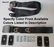 """Vintage Lift Latch 2 Point Lap Seat Belt Set+Retrofit Mtg Kit 74""""- Specify Color"""