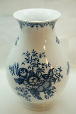 ROYAL WORCESTER VASE HANBURY BLUE WHITE FLORAL TRANSFERWARE 10.5in TALL ENGLAND