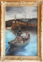 Newlyn, Cornwall. Original oil by W.R. Revell 1892, after Stanhope Forbes