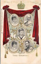 Three Generations Royal Family Royalty TUCK Embossed c1905 Postcard F84
