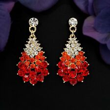 18K Gold Plated GP Red Crystal Rhinestone Drop Chandelier Dangle Earrings 00846