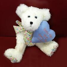 """MOMMA McHUGS - 12"""" White Chenille Plush Boyds Bear with Pillow - BNWT"""