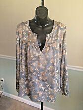Ralph Lauren Denim & Supply Blue Floral Long Sleeved Polyester Shirt - Large
