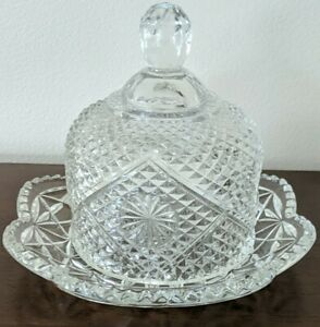 AVON Butter/Cheese Covered Plate Hobnail Star Diamond CROSSHATCH Pattern