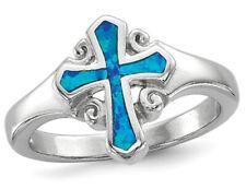 Laboratorio creado anillo de plata esterlina solitario ópalo azul