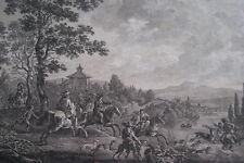 GRAVURE EAU FORTE LA PETITE CHASSE AU CERF PHILIPS  WOUWERMAN MALBESTE 1796