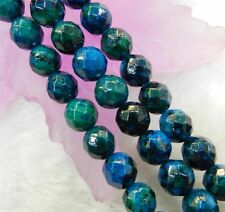 "6mm Faceted Azurite Chrysocolla Gemstones Round Loose Beads 15"" SF"