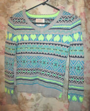 GREEN BLUE AND SILVER HEARTS AND DIAMONDS SWEATER FROM JUSTICE-GIRLS 12