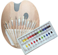 Artist 12 ACRYLIC Colors Painting Paint Set + 12 Brush Set with Wood Palette SET