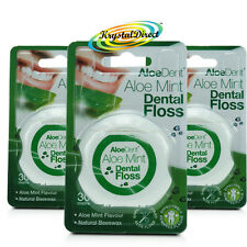 3x Aloe Dent Aloe Mint Dental Floss 30m coated with Natural Beeswax