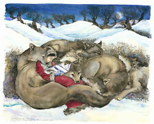 Print Jackie Morris' Fine Art Watercolor Little Red Reading to the Wild Wolves