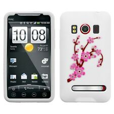 White Spring Flowers Rubber SILICONE Skin Soft Gel Case Cover Sprint HTC EVO 4G