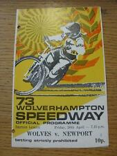 20/04/1973 Speedway Programme: Wolverhampton v Newport  (Small Number Noted on C