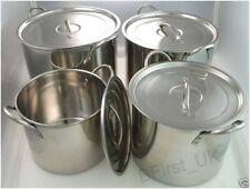 Set of 4 Deep Stainless Steel Stock Pot 4 Pieces Set