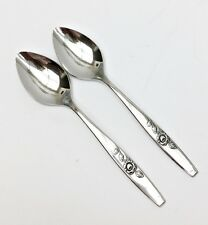 """2 Oneida OUR ROSE Teaspoons 6"""" SSS Stainless Flatware Glossy Silverware  (A)"""