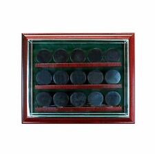 15 Hockey Cabinet Style Display Case Fifteen Puck Hinged Door Glass Suede NHL