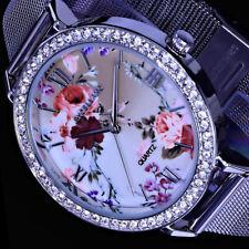 Excellanc Damen Armband Uhr Blumen Rosen Bunt Silber Farben Flaches Design