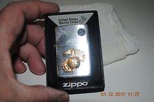 USMC Marine Corps Zippo Lighter Brushed Chrome w Gold Eagle Globe Anchor