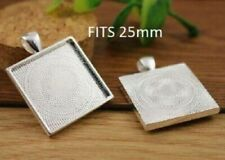 3 x Silver plated square cabochon setting pendants FITS 25mm GLASS