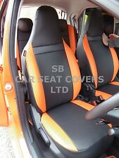 TO FIT A TOYOTA AYGO, CAR SEAT COVERS, 2006, CUSTOM MADE, BLACK / ORANGE