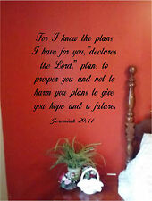 For I know the Thoughts & Plans Wall Sticker Wall Art Vinyl Decal Bible Verse