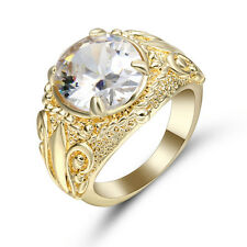Size 7 White Sapphire Ring Women's 10K Yellow Gold Filled Engagement flower Ring