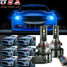 Muticolor App Control LED High Low Beam Headlight Bulb For 2015+ Dodge Charger