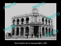 OLD POSTCARD SIZE PHOTO OF WARWICK QUEENSLAND VIEW OF THE POST OFFICE c1900