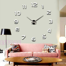 Fashion Large Number Wall Clock Diy 3D Mirror Sticker Home Decor Art Modern