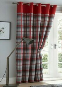 RED CHECK TARTAN  FULLY LINED DOOR CURTAIN