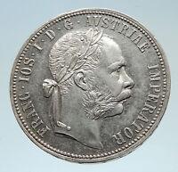 1885 AUSTRIA w King FRANZ JOSEPH I Antique Genuine Silver 1 Florin Coin i75303