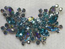 Vintage Signed Weiss Rhodium Plt. Tiered Light Blue Rhinestones Brooch
