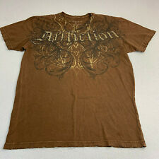 Affliction T-shirt Angel Wings Back Graphic Brown Short Sleeve Mens Large