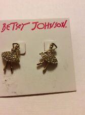 $25 Betsey Johnson Rose Pave Ballerina Stud Earrings A136*