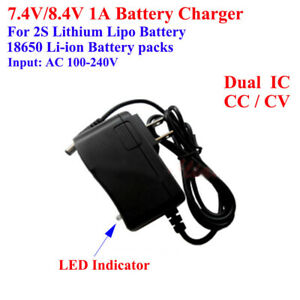 2S Charger  18650 Lithium Li-ion Battery Cell 7.4V 8.4V 1A AC/DC  Adapter 7.2V