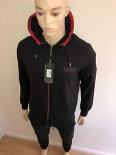 Mens Hugo Boss Black Hooded Tracksuit Top and Bottoms Medium RRP £289 Bargain£99