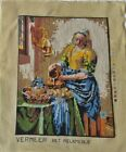 """Jewel Tone Finished 13 x 17"""" Tapestry of Johannes Vermeer's The Milkmaid"""