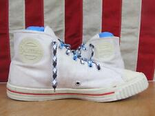 Vintage 1950s Basketball White Canvas Sneakers High-Top Athletic Gym Shoes Sz.12