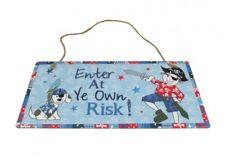 """Plaque de Porte Métal Fantaisie Enfant Garçon Pirate """" Enter At Ye Own Risk ! """""""
