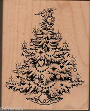 Christmas Tree Rubber Stamp Wood Mounted Angel Candles Stars PSX K-495 Holiday