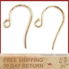 14K Solid Yellow Gold Earwires W/Bead Tip - DIY Earrings - French Ear Hooks 14KT