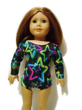"""Neon Stars Sparkly Leotard fits American Girl 18"""" doll clothes Long-Sleeve"""